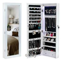 Wall & Door Mounted Mirror Jewelry Cabinet with Lock Armoire Organizer LED Light