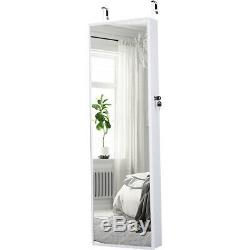 Wall Door Mounted Mirrored Jewelry Cabinet Armoire Storage Organizer 10LED Decor