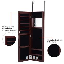 Wall Door Mounted Mirrored Jewelry Cabinet Armoire Storage Organizer Brown New