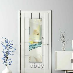 Wall & Door Mounted Mirrored Jewelry Cabinet Storage Organizer With Lights&Drawer
