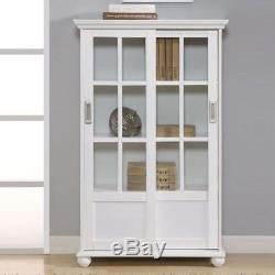 White Barrister Glass Door Bookcase Bookshelf Wooden Cabinet Display Home Office