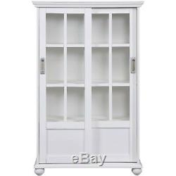White Bookcase with Sliding Glass Doors Home Furniture Cabinet Contemporary Rack