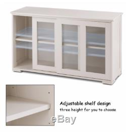 White Buffet Cabinet with Sliding Doors Shelves Kitchen Storage Glass Doors NEW