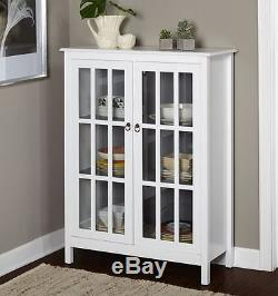 White China Cabinet Storage Kitchen Hutch Gl Doors Pantry Cupboard Display