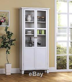 White China Cabinet With Glass Doors Buffet Hutch Pantry Storage Cupboard Dining