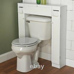 White Finish Over Toilet Space Saver Paper Caddy Bathroom Storage Cabinet Shelf