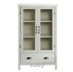 White Finish Wood China Hutch Curio Cabinet Kitchen Storage Cupboard Glass Doors