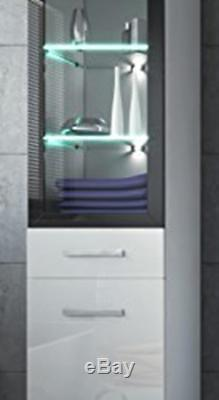 White High Gloss Bathroom Storage Cabinet Tall Cupboard Glass Door