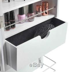 White LED Light Over the Door Mirror Jewellery Makeup Organiser Armoire Cabinet