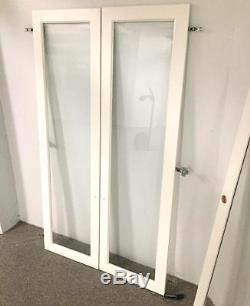 White Lacquered easy-to-strip Red Oak Wood Cabinet Display Case Door 3/16Glass