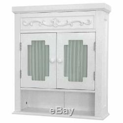 White Wall Cabinet Deco Carving Cupboard Open Shelf Glass Doors Pleated Curtains
