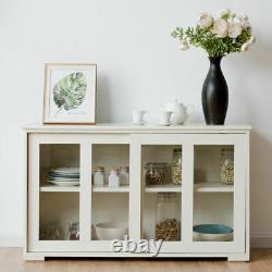 White Wooden Storage Cabinet Stackable Utility China Curio Table Sliding Door