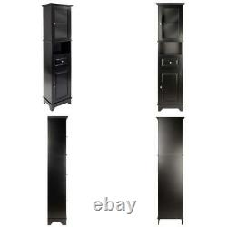 Winsome Wood Alps Tall Cabinet with Glass Door and Drawer 18.11 inches, Black