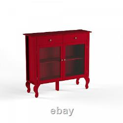 Wood Buffet Storage Display Cabinet with Glass Doors in Red Finish