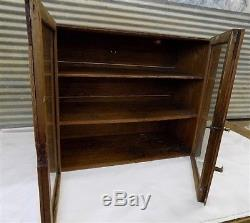 Wood Cabinet Glass Doors Showcase Display Case Cupboard Country Store Vintage