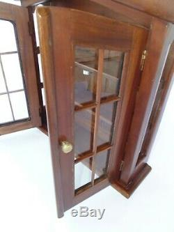 Wood Glass CURIO DISPLAY CABINET Storage Organizer Medicine Arched French Doors