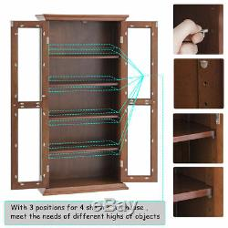 Wood Media Storage Cabinet CD DVD Tower Rack Glass Doors Brown Shelf Furniture