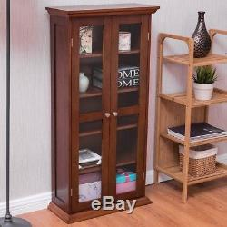 Wood Media Tower Storage Movie CD Book Shelves Cabinet Stand with Glass Doors