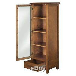 Wooden Glass Display Case Durable Vintage Antique Cabinet One Door Four Shelves