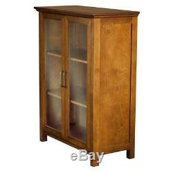 Wooden Glass Display Case Durable Vintage Antique Cabinet Two Doors Two Shelves