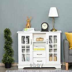 Wooden Sideboard Dining Room Side Cabinet with Pull Doors and 2 Open Shelves